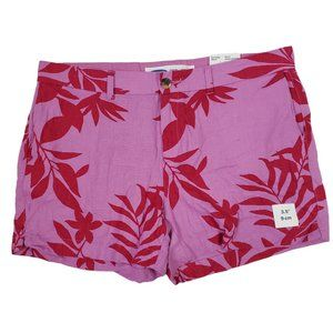 Old Navy Women's Linen Everyday Shorts Pink Leaves